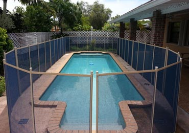Blue/Beige Pool Fence